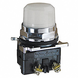 Pilot Light Complete, 30mm, 120VAC Voltage, Lamp Type: LED, Terminal Connection: Pressure Plate