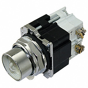 Push to Test Pilot Light Without Lens, 30mm, 120VAC Voltage, Lamp Type: Incandescent