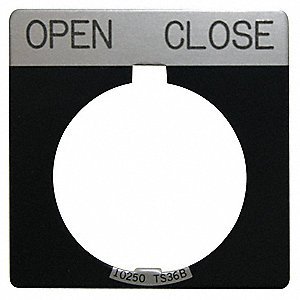 30mm Square Open-Close Legend Plate, Aluminum, Black