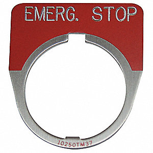 30mm 1/2 Round Emergency Stop Legend Plate, Aluminum, Red