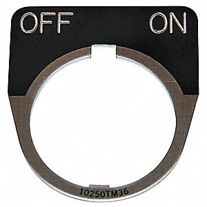 30mm 1/2 Round Off-On Legend Plate, Aluminum, Black