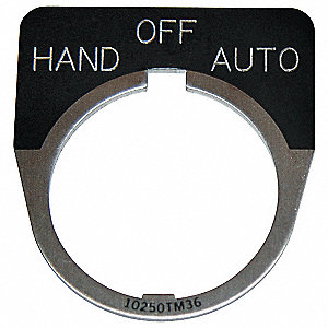 30mm 1/2 Round Hand-Off-Auto Legend Plate, Aluminum, Black