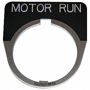 30mm 1/2 Round Motor Run Legend Plate, Aluminum, Black