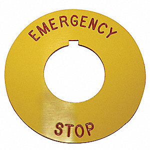 30mm Round Emergency Stop Legend Plate, Plastic, Red/Yellow