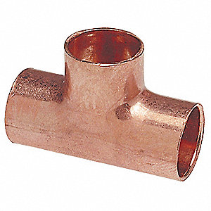 "Wrot Copper Reducing Tee, C x C x C Connection Type, 5/8"" x 5/8"" x 3/8"" Tube Size"