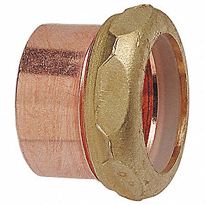 "Wrot Copper Adapter, C x SJ Connection Type, 1-1/2"" x 1-1/4"" Tube Size"