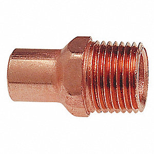 "Wrot Copper Adapter, FTG x MNPT Connection Type, 1/2"" Tube Size"