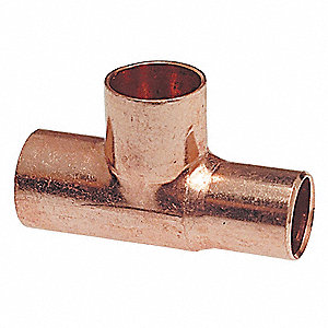 "Wrot Copper Tee, C x FTG x C Connection Type, 3/4"" Tube Size"
