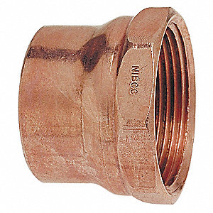 "Wrot Copper Adapter, C x FNPT Connection Type, 1-1/4"" Tube Size"
