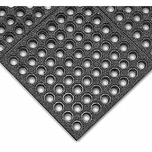 "Drainage Mat, 5 ft. L, 3 ft. W, 1/2"" Thick, Rectangle, Black"
