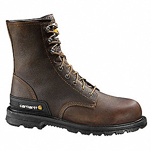 "8""H Men's Work Boots, Plain Toe Type, Leather Upper Material, Brown, Size 14"