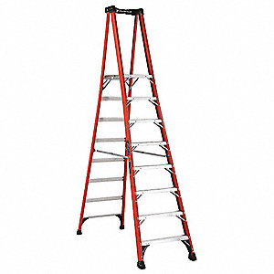 "Fiberglass Platform Stepladder, 10 ft. 6"" Ladder Height, 7 ft. 7"" Platform Height, 375 lb."