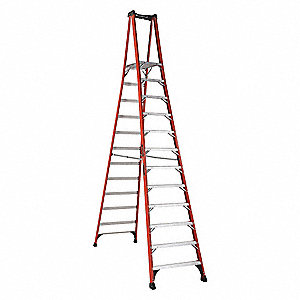 "Fiberglass Platform Stepladder, 14 ft. 3"" Ladder Height, 11 ft. 5"" Platform Height, 375 lb."
