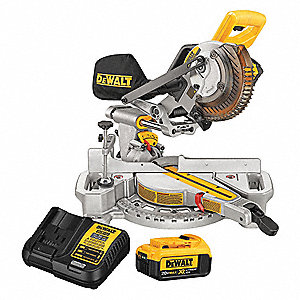 "Cordless Miter Saw Kit, Battery Included, 20.0 Volts, 7-1/4"" Blade Dia., Slide: Yes, Bevel: Yes"