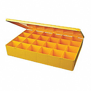 "Compartment Box, Yellow, 2-1/8""H x 12-3/4""L x 8-1/2""W, 1EA"