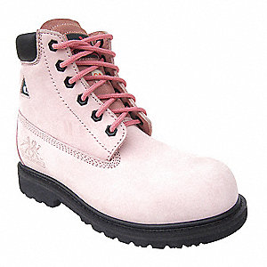 "6""H Women's Work Boots, Composite Toe Type, Nubuck Leather Upper Material, Pink, Size 6EE"
