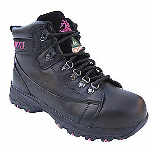 "6""H Women's Work Boots, Aluminum Toe Type, Leather Upper Material, Black, Size 11"