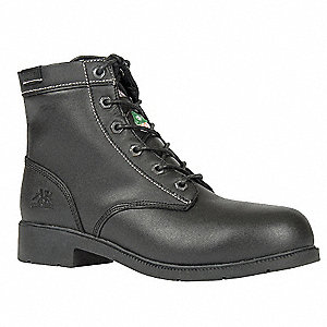 "6""H Women's Work Boots, Aluminum Toe Type, Leather Upper Material, Black, Size 8-1/2EE"