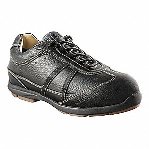 "3""H Women's Work Shoes, Aluminum Toe Type, Leather Upper Material, Black, Size 9D"