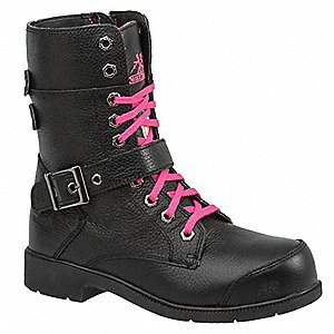 "8""H Women's Work Boots, Aluminum Toe Type, Leather Upper Material, Black, Size 6EE"