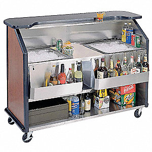 "63-1/2"" x 27-1/2"" x 45"" Stainless Steel W/laminate Exterior Finish Portable Bar, Black Laminate"