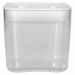 "6"" x 6"" x 5-3/4"" Polystyrene Square Storage Canister, Clear/White"