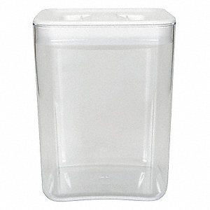 "6-1/2"" x 6-1/2"" x 7-3/4"" Polystyrene Square Storage Canister, Clear/White"