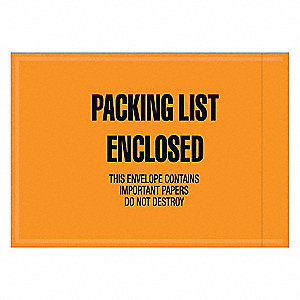 Packing List Envelope,Orange,6inH,PK1000