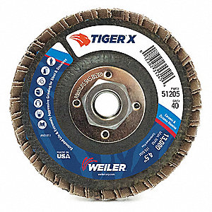 "7"" Flap Disc, Type 29, 7/8"" Mounting Hole, Extra Coarse, 36 Grit Zirconia Alumina, 1 EA"