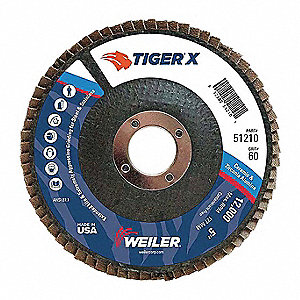 "5"" Flap Disc, Type 29, 7/8"" Mounting Hole, Medium, 60 Grit Zirconia Alumina, 1 EA"