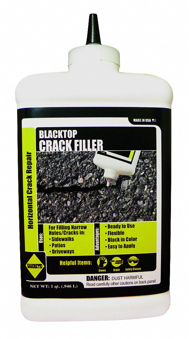 Black Blacktop Crack Filler, 1 qt Bottle, Coverage: 40 ft @ 1/4 in x 1/4 in