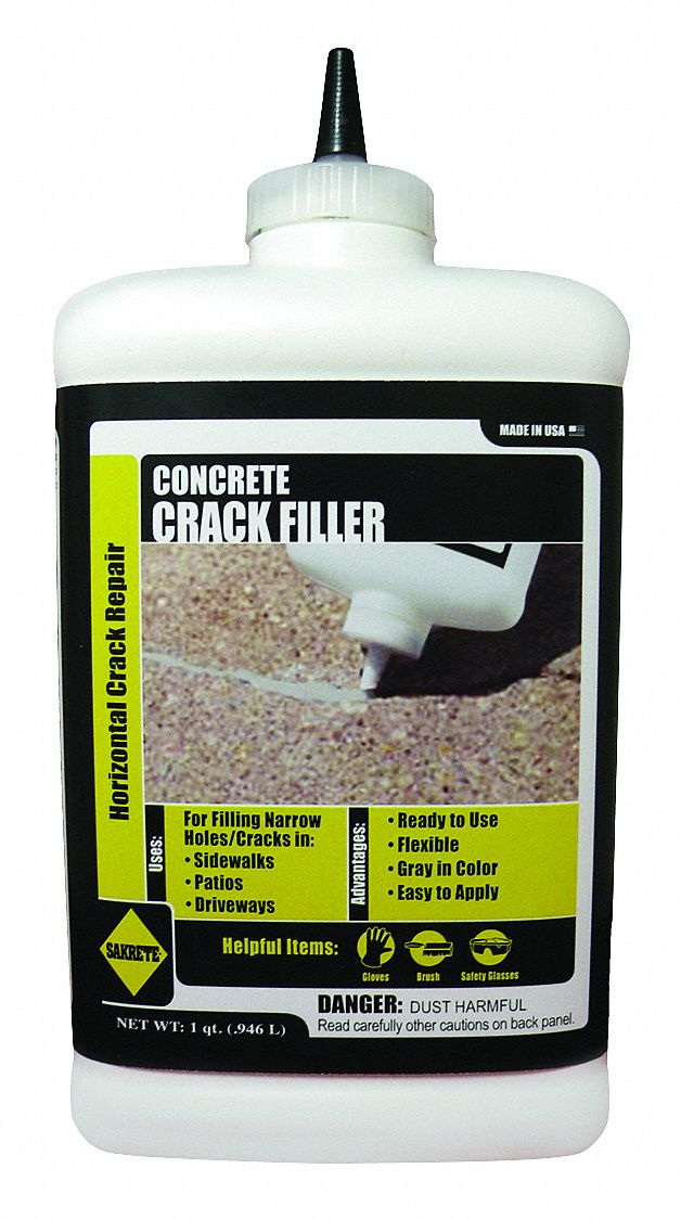 Gray Concrete Crack Repair, 1 qt Bottle, Coverage: 35 ft @ 1/4 in x 1/2 in