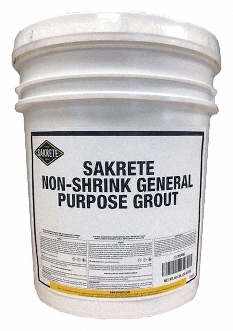 Gray Non-Shrink Grout, 50 lb Pail, Coverage: 0.45 cu ft