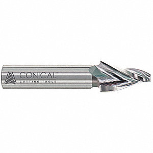 "Tapered End Mill, 0.250"" Tip Diameter, Number of Flutes: 4, 1"" Length of Cut, Unfinished"