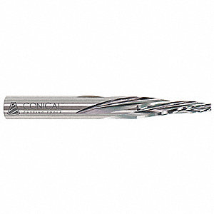 "Spiral Tapered End Mill, 0.125"" Tip Diameter, Number of Flutes: 3, 3"" Length of Cut, Unfinished"