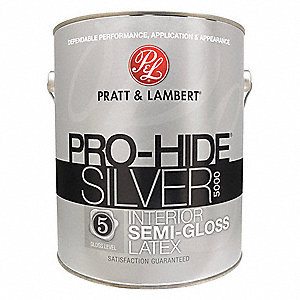 Semi-Gloss Interior Paint, Latex, Obsidian, 1 gal.