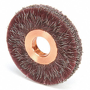 "2"" Crimped Wire Wheel Brush, Arbor Hole Mounting, 0.014"" Wire Dia., 1/2"" Bristle Trim Length, 1 EA"