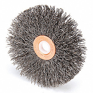 "3"" Crimped Wire Wheel Brush, Arbor Hole Mounting, 0.014"" Wire Dia., 1"" Bristle Trim Length, 1 EA"