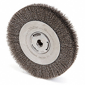 "8"" Crimped Wire Wheel Brush, Arbor Hole Mounting, 0.014"" Wire Dia., 1-3/8"" Bristle Trim Length, 1 EA"