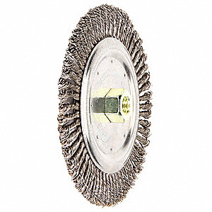 "6-7/8"" Twisted Wire Wheel Brush, Arbor Hole Mounting, 0.020"" Wire Dia., 1-1/8"" Bristle Trim Length,"