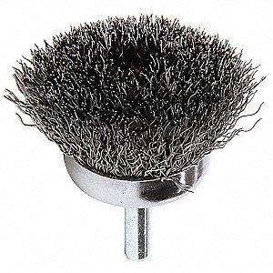 1 3/4 in Crimped Wire Cup Brush, Shank Mounting, 0.012 in Wire Dia. 3/4 in Bristle Trim Length