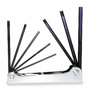 Black Oxide Hex Key Set, Alloy Steel, SAE, Fold-Up, Number of Pieces: 8