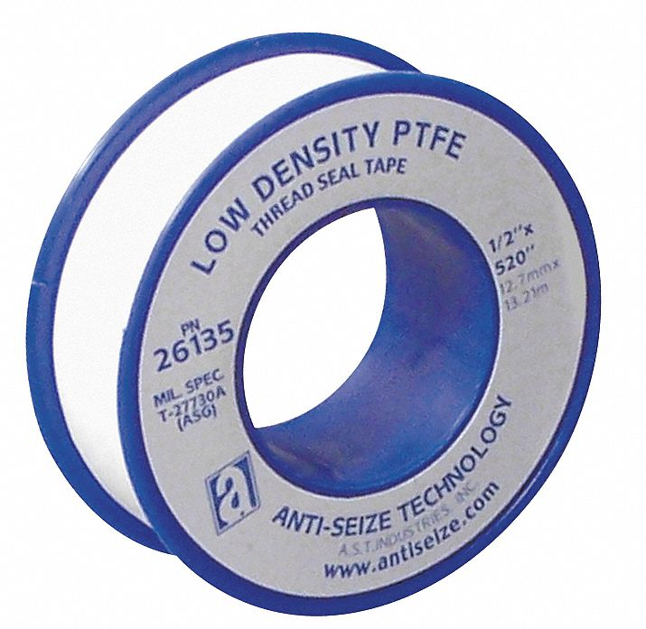 Thread Sealant Tape,  PTFE,  0.35 to 0.5sg,  1/2 in Width,  520 in Length,  White Color