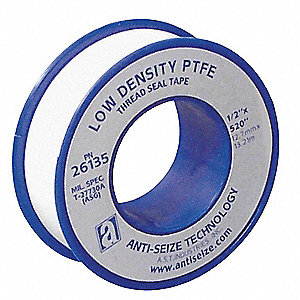 "1/2""W PTFE Thread Sealant Tape, White, 260"" Length"