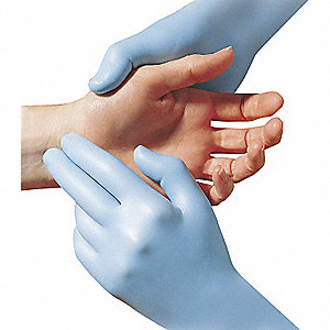"11"" Powder Free Unlined Nitrile Disposable Gloves, Light Blue, Size  XL, 50PK"
