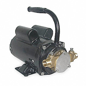 9.4/4.7 Amps 1/3 HP Flexible Impeller Pump, 32.9 psi, 1/2 NPT x 3/4 GHT