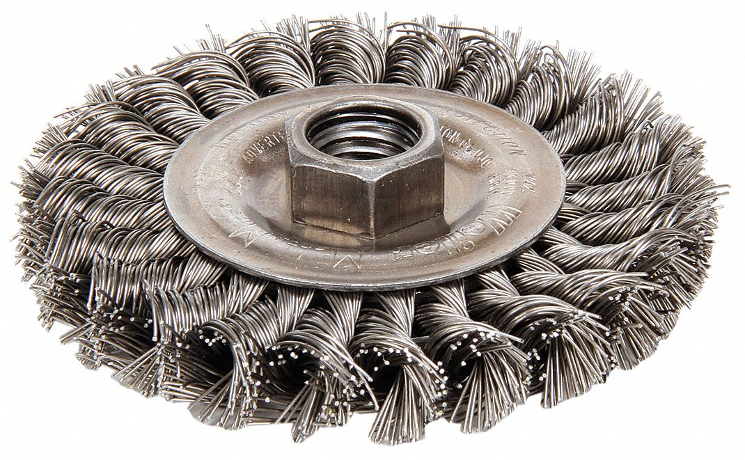 4 in Twisted Wire Wheel Brush, Arbor Hole Mounting, 0.02 in Wire Dia., 7/8 in Bristle Trim Length, 1