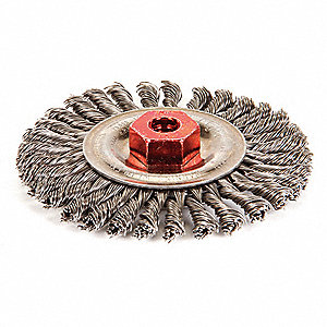"Arbor Hole Wire Wheel Brush, Twist Wire, 4"" Brush Dia."