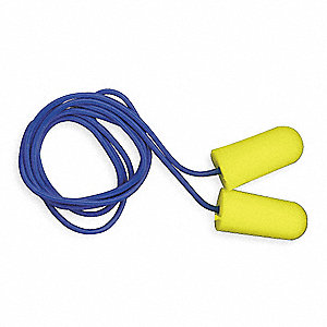 32dB Disposable Tapered Shape Ear Plugs&#x3b; Corded, Yellow, Universal