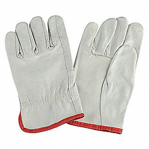 Cowhide Drivers Gloves, Shirred Wrist Cuff, Cream, Size: S, Left and Right Hand
